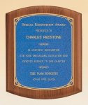 American Walnut Plaque with Linen Textured Plate Sales Awards