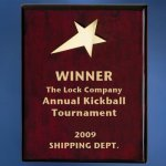 Piano Finish Wood Plaque with Brass Star Wood Cast Awards