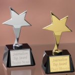 Small Stars with Glass Bases Wood Cast Awards